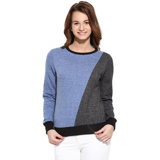 Campus Sutra Grey Blue Solid Long Sleeve Cotton Sweatshirt For Women