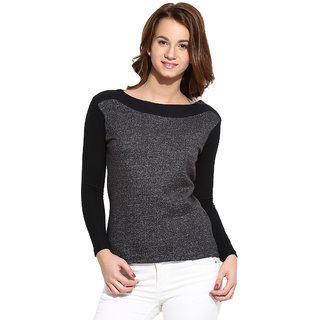 Campus Sutra Grey Solid Long Sleeve Cotton Sweatshirt For Women