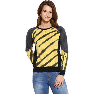 Campus Sutra Black Yellow Solid Long Sleeve Cotton Sweatshirt For Women