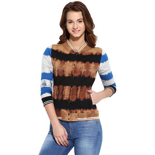 Campus Sutra Multicolor Solid Long Sleeve Cotton Sweatshirt For Women