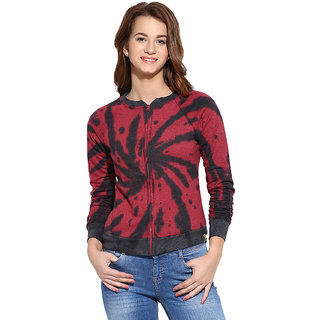 Campus Sutra Maroon Solid Long Sleeve Cotton Sweatshirt For Women