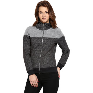 Campus Sutra Grey Grey Solid Long Sleeve Cotton Hooded Sweatshirt For Women