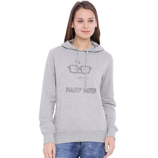Campus Sutra Grey Solid Long Sleeve Cotton Hooded Sweatshirt For Women