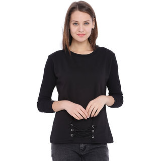 Campus Sutra Black Solid Long Sleeve Cotton Sweatshirt For Women