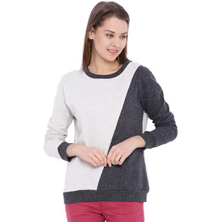 Campus Sutra Cream Solid Long Sleeve Cotton Sweatshirt For Women