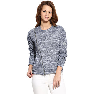 Campus Sutra Blue Solid Long Sleeve Cotton Sweatshirt For Women
