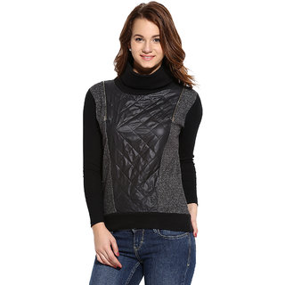Campus Sutra Grey Black Solid Long Sleeve Cotton Sweatshirt For Women