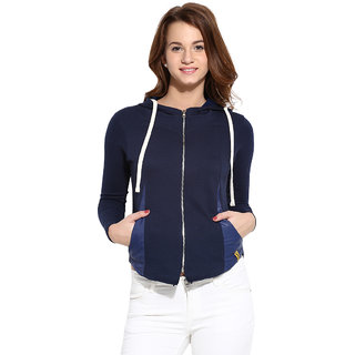 Campus Sutra Blue Solid Cotton Jacket For Women