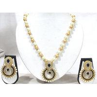 Black Stone Pendant Pearl Necklace Set