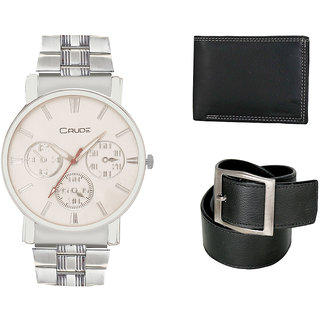 Crude Smart Combo Analog Watch-rg227 With Black Leather Belt  Wallet