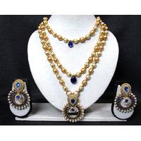 Dark Blue 3 Line Stone Pendant Pearl Necklace Set