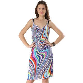 Sexy Backless Style Multi Blue Colored Ripple Print Summer Wrap Skirt Beach Dress