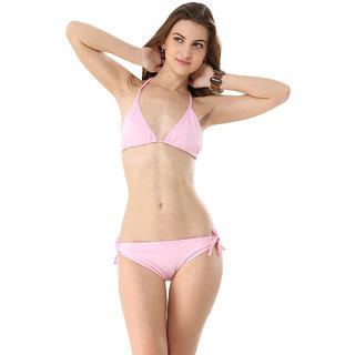 Eye-Catching Haltered Lovable Baby Pink Bikini Set