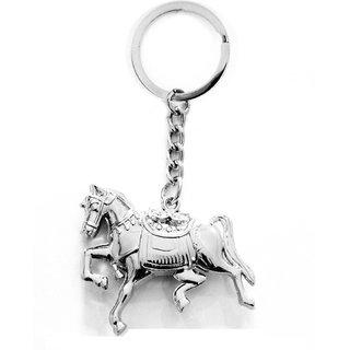 Anishop Running Horse Metalic Keyring Key Chain  (Silver)