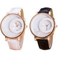 Sangho Hub Combo Of 2 White , Black Analog Watch - For Women, Girls