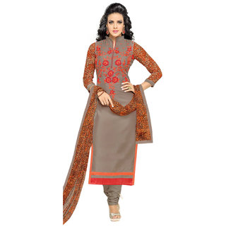 Surat Tex Grey Colored Chanderi Cotton Embroidery Party Wear Semi-Stitched Salwar Suit-J355DL1