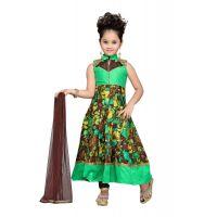Aarika Girls Party Wear Green Churidar Suit Set