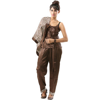Plush Satin Silk Leopard Designed Pyjama Set