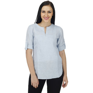 Women Solid Blue Tunic