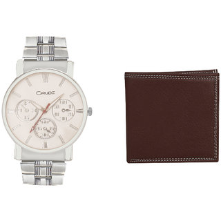 Crude Smart Combo Analog Watch-rg579 With Brown Leather Wallet