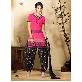 Trendz Apparels Pink Pure Cotton Patiyala Salwar Suit