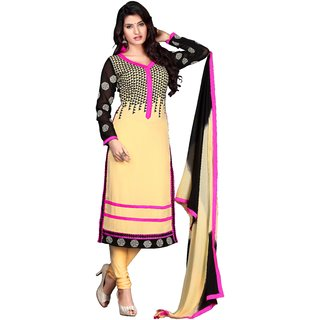 Trendz Apparels Beige 60 gm Georgette Straight Fit Salwar Suit