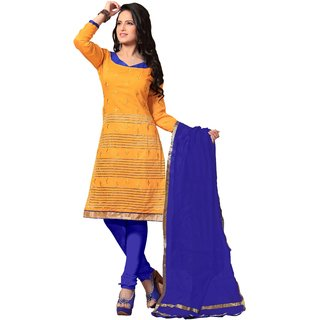 Trendz Apparels Yellow Chanderi Cotton Silk Straight Fit Salwar Suit