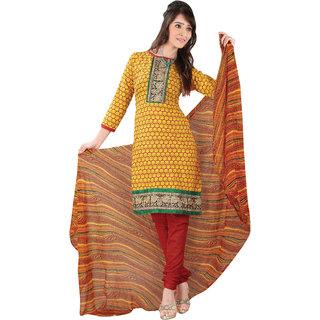 Trendz Apparels Yellow Cotton Straight Fit Salwar Suit