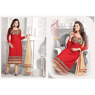Trendz Apparels Red 60 gm Georgette Straight Cut Salwar Suit
