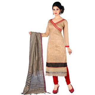 Trendz Apparels Beige Chanderi Cotton Silk Straight Fit Salwar Suit