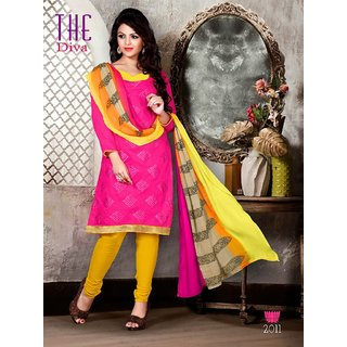 Trendz Apparels Pink Chanderi Cotton Silk Straight Fit Salwar Suit