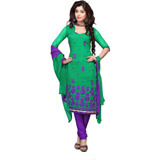 Trendz Apparels Green 60 gm Georgette Straight Fit Salwar Suit