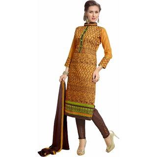 Trendz Apparels Peach Chanderi Cotton Silk Straight Fit Salwar Suit