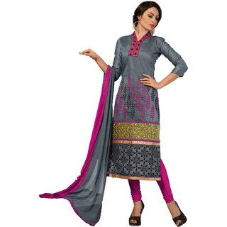 Trendz Apparels Grey Chanderi Cotton Silk Straight Fit Salwar Suit
