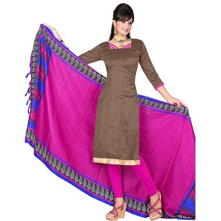 Trendz Apparels Brown Khadi Silk Straight Fit Salwar Suit