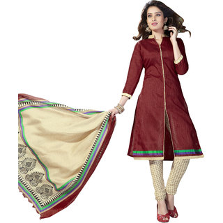 Trendz Apparels Maroon Banglori Silk Straight Fit Salwar Suit