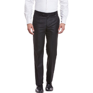 Canary London GraphiteBlack Viscose Men's Casual Flat front trousers