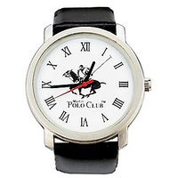 Polo Club Round Dial Balck Leather Strap Mens Quartz Watch