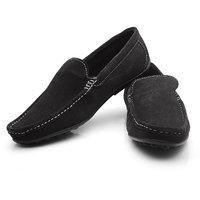 AV Ferrer Men's Black Loafers In Suede Leather FERBK1CSUE11