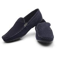 AV Ferrer Men's Blue Loafers In Suede Leather FERBK1CSUE14