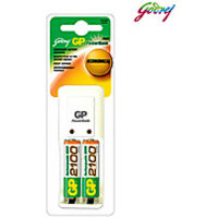 Godrej GP Combo Rechargeable Batteries X 2 AA NI-MH 2100 MAh  Charger Powerbank
