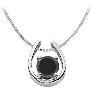 Black Onyx Horseshoe Pendant In Rhodium Treated Sterling Silver
