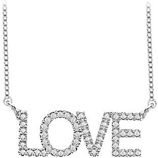 Cz Love Necklace With One Carat In Rhodium Treated Sterling Silver