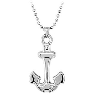 Stainless Steel Anchor Pendant In 22 Inch Ball Chain Necklace