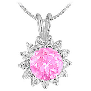 Pink Sapphire & Cubic Zirconia Pendant In Rhodium Treated Sterling Silver Design 1