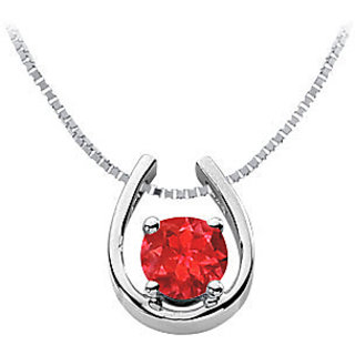 1 Carat Gf Bangkok Ruby Horseshoe Pendant In Rhodium Treated Sterling Silver
