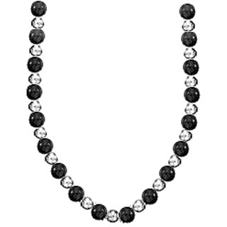 9 Mm Black Onyx With 7 Mm Beads Necklace Set On Sterling Silver Chain Necklace