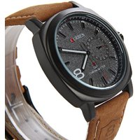 Curren Brown Strap White Dial Best Over Denim Analog Watch - For Men, Boys