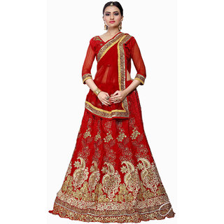 Impressive Bridal Embroidery Red Color Lahenga Choli