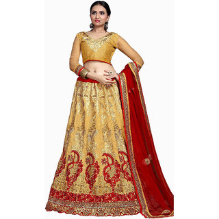 Stylish Bridal Embroidery CREAM Color Lahenga Choli